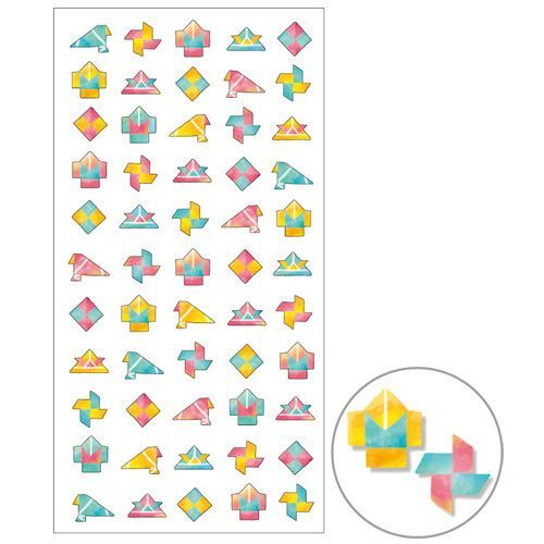 cute colorful origami shape semi transparent tie dye stickers mind wave cute stickers. Black Bedroom Furniture Sets. Home Design Ideas