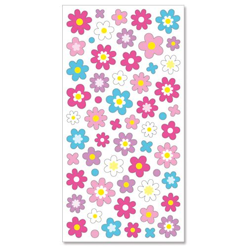 Cute colorful shimmery flower stickers by mind wave