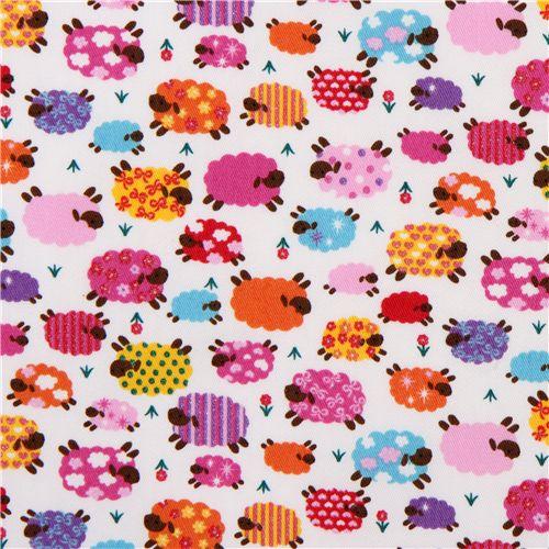 cute colourful sheeps fabric with glitter kokka japan animal fabric fabric kawaii shop modes4u. Black Bedroom Furniture Sets. Home Design Ideas