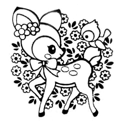 Cute deer stamp with bird flowers kawaii japan stamps for Cute kawaii coloring pages