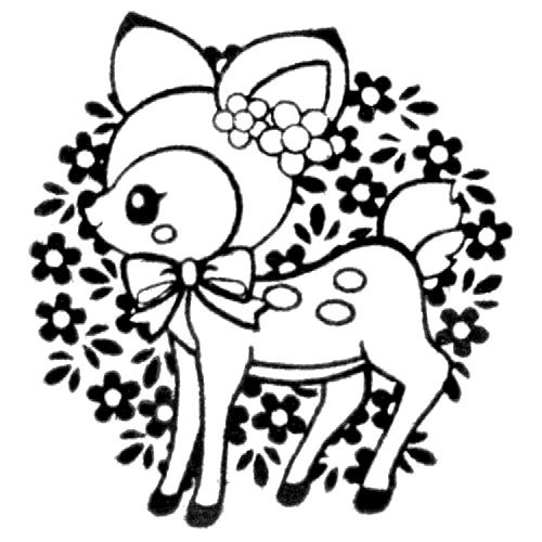cute deer stamp with ribbon flowers