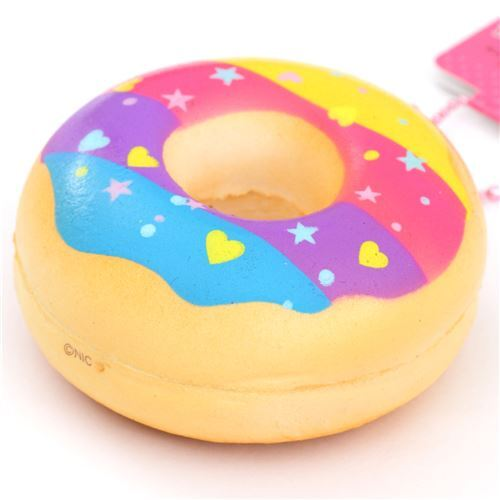 cute donut colorful stripe icing blue yellow squishy charm Sammy the Patissier - Food Squishy ...
