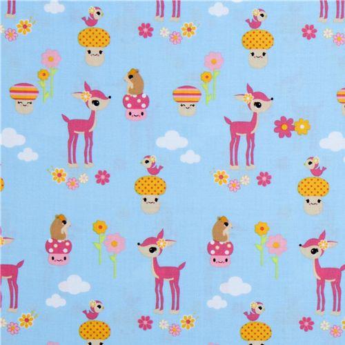 cute fabric deer hamster toyland robert kaufman deer fabric fabric kawaii shop modes4u. Black Bedroom Furniture Sets. Home Design Ideas