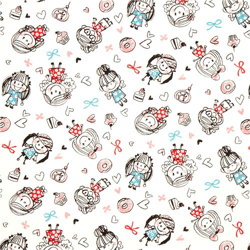 cute fabric with girls cupcakes donuts by kokka children fabric fabric kawaii shop modes4u. Black Bedroom Furniture Sets. Home Design Ideas