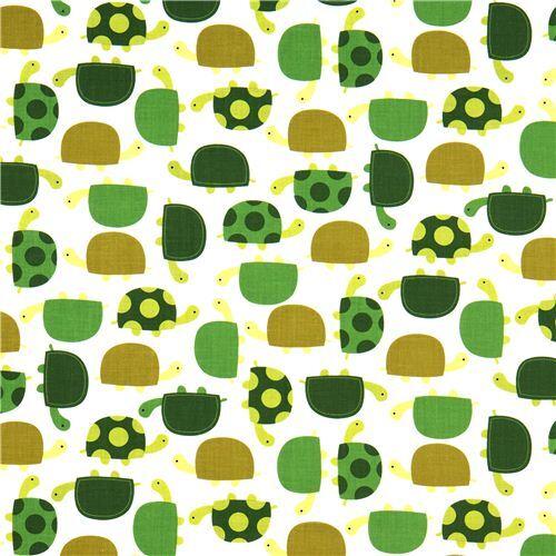 bonita tela con tortugas verdes robert kaufman telas con animales textiles tienda kawaii. Black Bedroom Furniture Sets. Home Design Ideas
