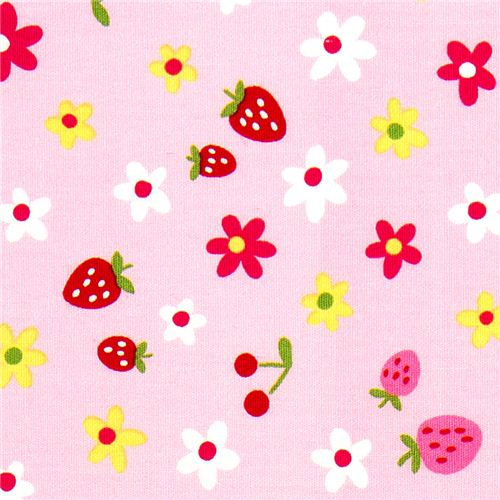 cute fabric with strawberry cherry flower by kokka food fabric fabric kawaii shop modes4u. Black Bedroom Furniture Sets. Home Design Ideas