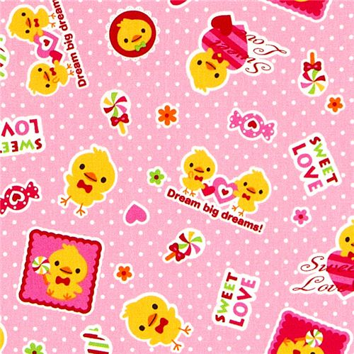 cute fabric with yellow chick heart by Kokka from Japan 1