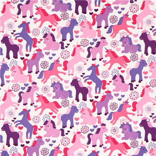 Cute Fairy Tale Unicorn Fabric Purple Michael Miller Usa