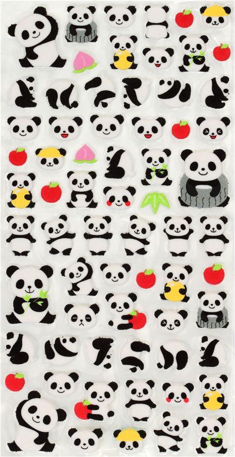 Cute Felt Sticker With Panda Bears Apple Japan Sticker
