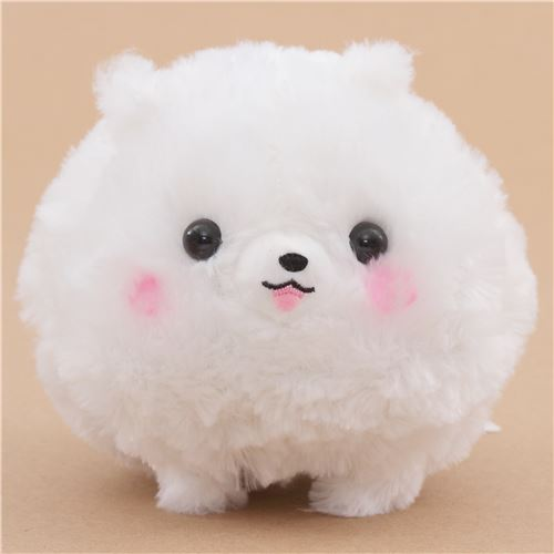 cute fluffy white dog Pometan plush toy Japan