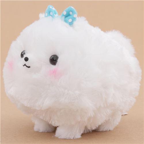 cute fluffy white dog blue bow pometan plush toy japan dog plush