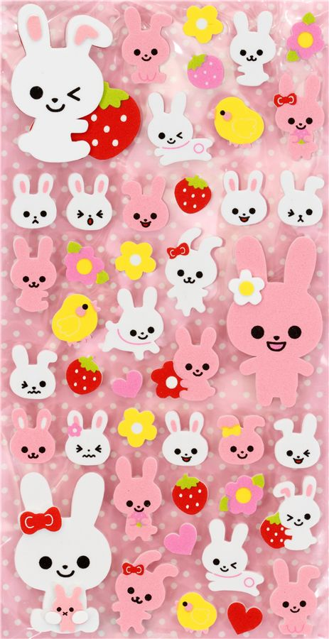 cute foam 3d sticker with bunny japan kawaii