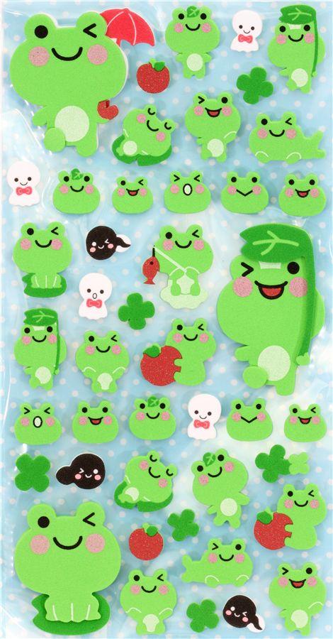 Cute Foam 3d Sticker With Frogs Japan Kawaii Sticker