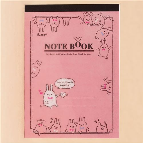 cute funny bunny rabbit bow note pad by q lia
