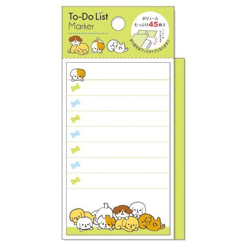 cute green dog note pad to do list marker from japan memo pads