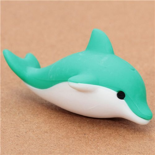 cute green dolphin eraser from Japan by Iwako