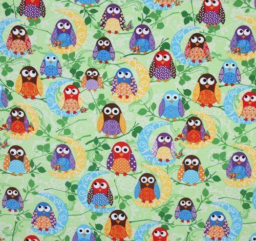 adorable green owls fabric what a hoot usa designer kawaii fabric shop. Black Bedroom Furniture Sets. Home Design Ideas