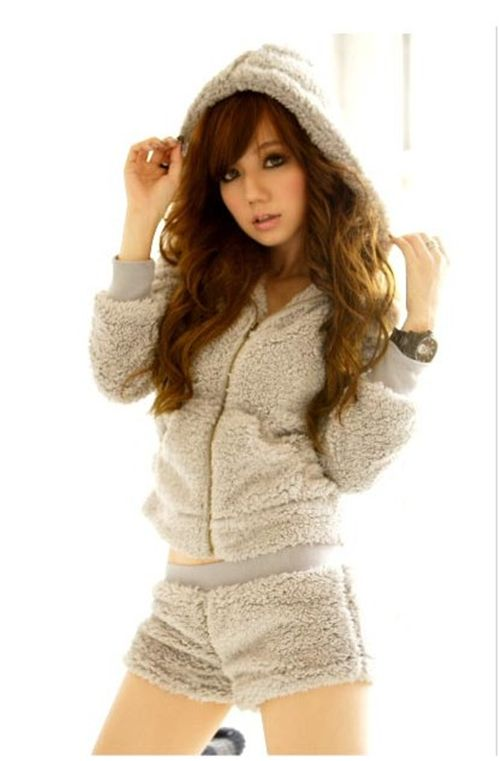 cute hoodie with hot pants kawaii grey