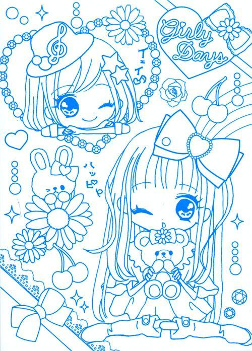Lindo cuaderno dibujo bloc chicas anime kawaii Q-Lia Japón - Blocs ...