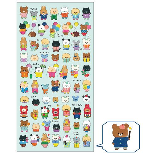 Amato cute kawaii bear rabbit mouse animal colorful clothes stickers by  DP51