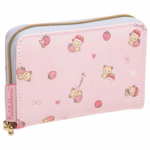 cute light pink korilakkuma bear strawberry card case wallet by san