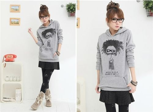 Cute Nerd Sweater Hoodie Girl With Glasses Grey Sweaters