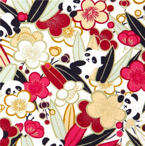 Cute Panda Bear Fabric Peach Blossom From Japan Animal