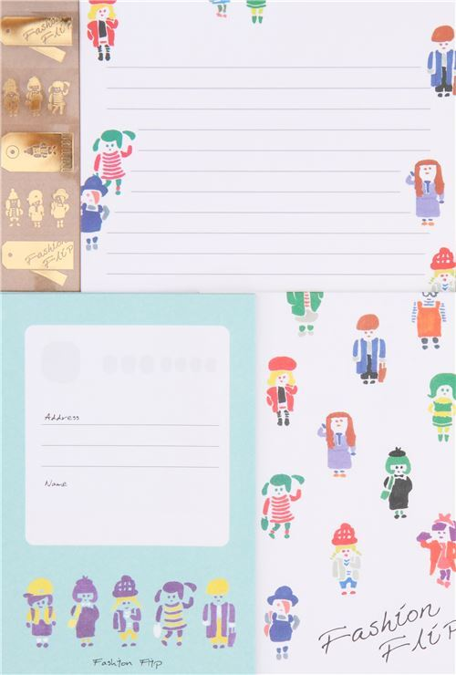cute people colorful fashionable outfit letter envelope set letter