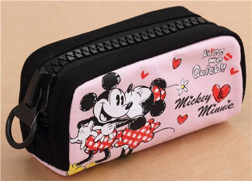 Cute Pink And Black Mickey Mouse Kiss Heart Pencil Case