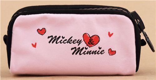 Simpatico Astuccio Rosa E Nero Mickey Mouse Baci Cuori Dal Giappone
