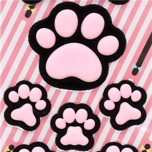 Pegatinas lindas negro rosa huella zarpa gato esponja