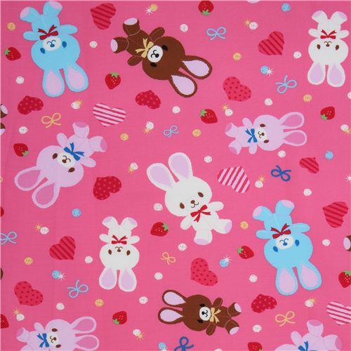 cute pink bunny fabric by kokka japan kawaii animal fabric fabric kawaii shop modes4u. Black Bedroom Furniture Sets. Home Design Ideas