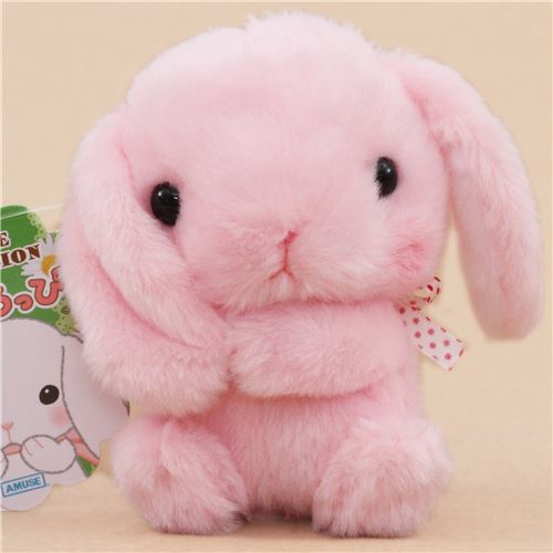 cute pink bunny rabbit holding ear white bow plush toy ...