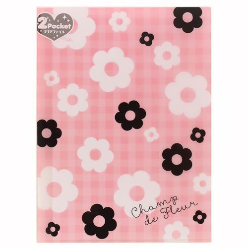 Cute pink checkered black white flower 2 pocket a4 file folder from cute pink checkered black white flower 2 pocket a4 file folder from japan mightylinksfo
