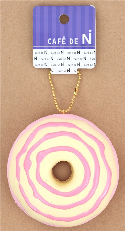 cute pink donut cream color pink icing squishy charm kawaii Cafe de N - Food Squishies ...