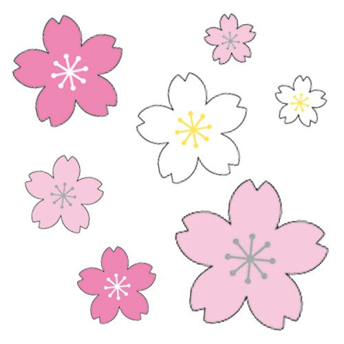 Cute pink rose white sakura flower stickers by mind wave