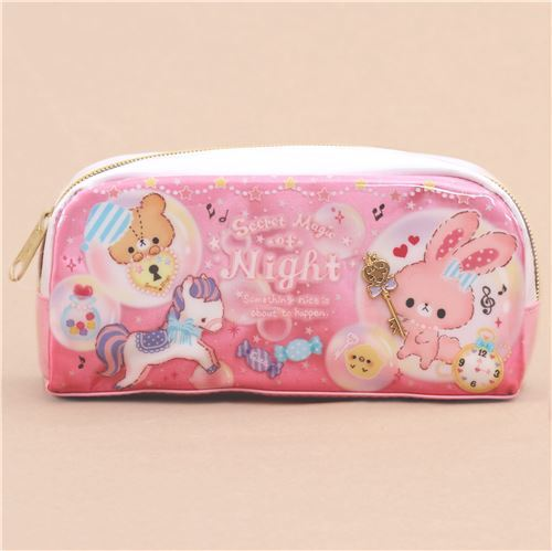 1b71a690853 cute pink white bunny rabbit bear glitter pencil case from Japan ...