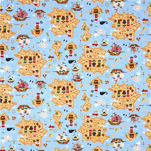 Cute pirates treasure map kokka fabric for children for Kids pirate fabric