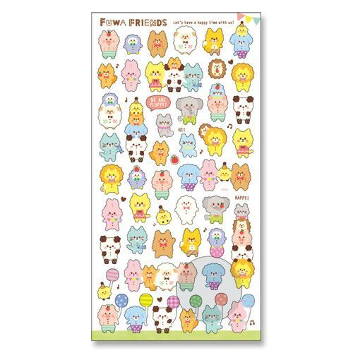 Cute small semi transparent fluffy animal friends stickers by mind wave 2