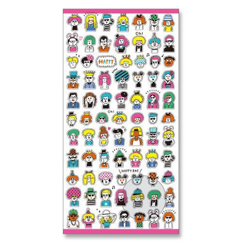 Cute small semi transparent funny people stickers by mind wave 2