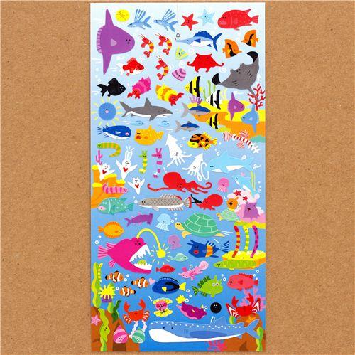 Pegatinas graciosas con muchos peces y animales marinos for Pegatinas de peces