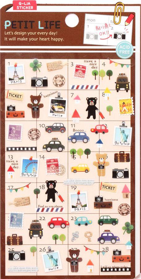 cute small travel teddy calendar stickers Paris Eiffel