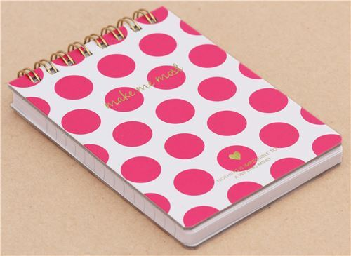 cute small white pink dot ring binder notebook japan memo pads