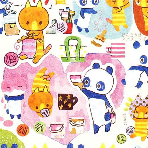 cute stickers with striped cat & spotted panda 1