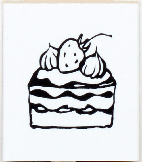 Cute Strawberry Cake Wooden Stamp