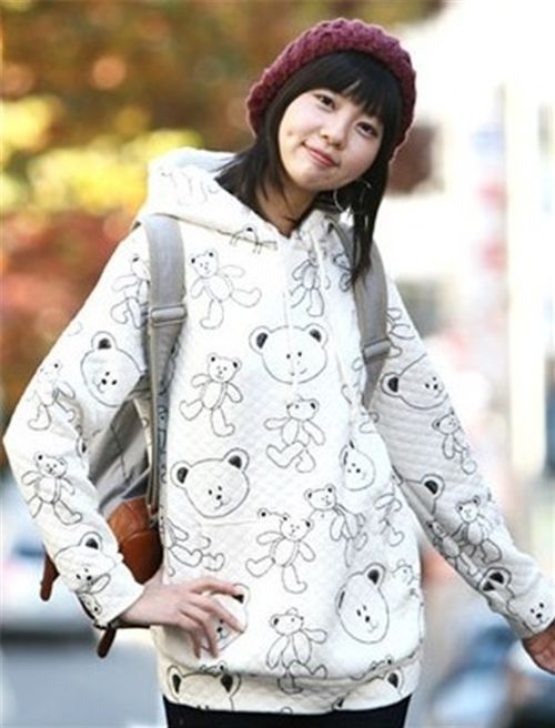cute teddy bear sweater hoodie quilted kawaii white - Sweaters ...