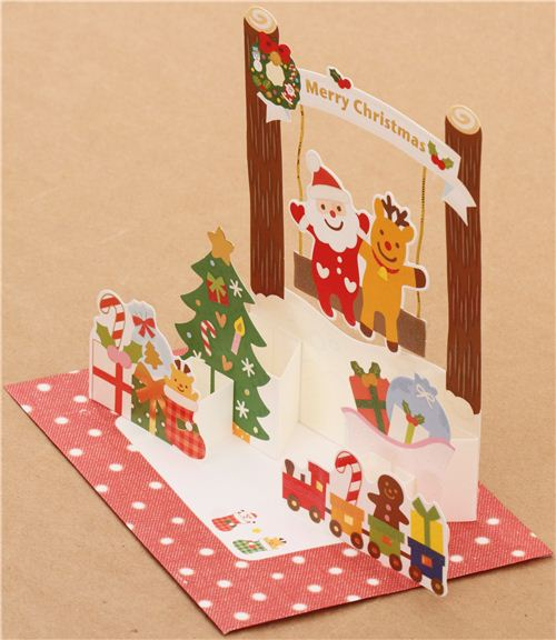 postal navidad brillante pop up 3d tren juguete columpio lindo de japn tarjetas y postales papelera tienda kawaii modess4u - Tarjeta De Navidad En 3d