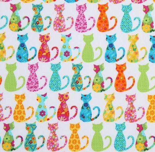 cute white michael miller fabric colourful calico cat animal fabric fabric kawaii shop modes4u. Black Bedroom Furniture Sets. Home Design Ideas