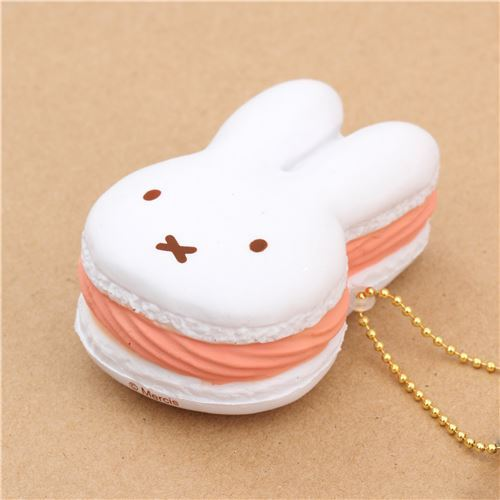 cute white peach filling Miffy bunny rabbit macaron squishy for bag backpack - Character Squishy ...