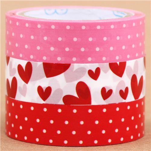 Set nastri adesivi decorativi bianchi rossi rosa pois cuori set di nastri decorativi nastri - Nastri decorativi natalizi ...